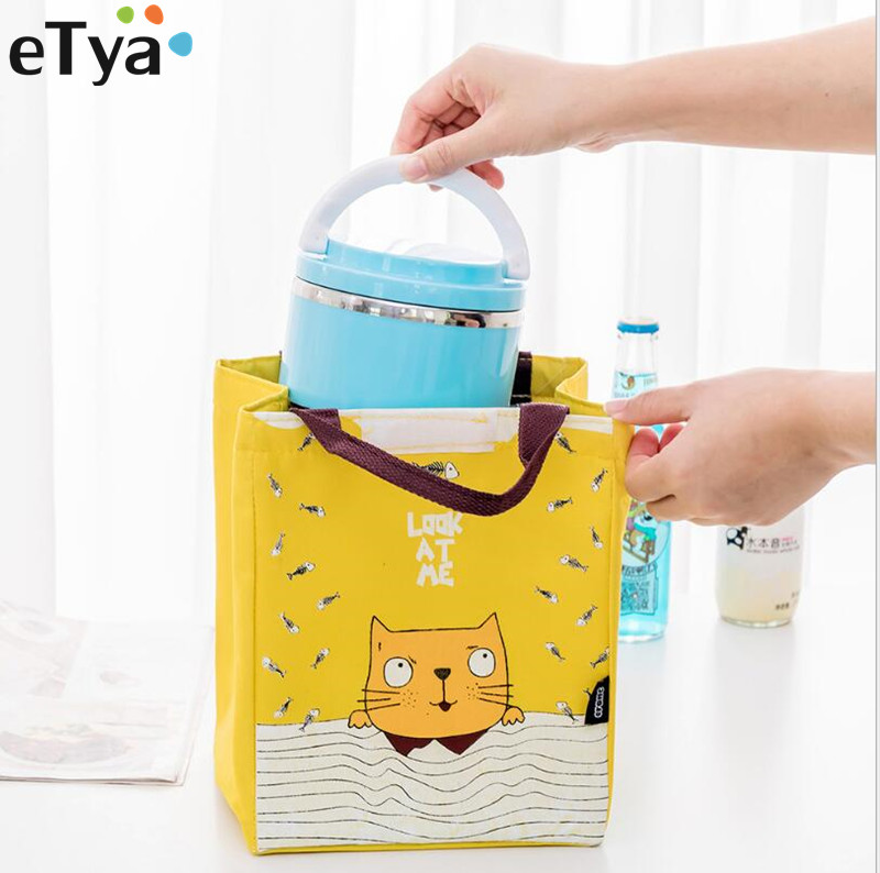 ETya Women Insulation Lunch Bag Cartoon Lunch Box Picnic Storage Bag Female Kids School Office Picnic Thermal Cooler Tote Bags