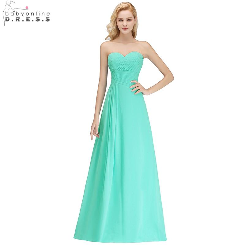 Babyonline Peacock Green Sweetheart Long Chiffon   Bridesmaid     Dresses   2019 Formal Party   Dresses   vestido de festa Custom Made