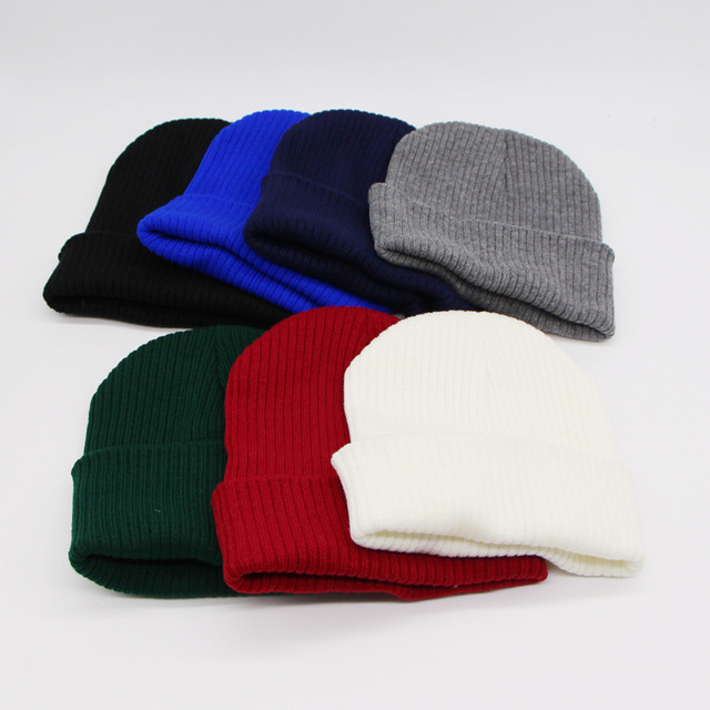 2017 New Fashion Blank Warm Winter Hat Solid Color Knitted Beanies Hats Men  Women Autumn Woolen 3e199ce5b48