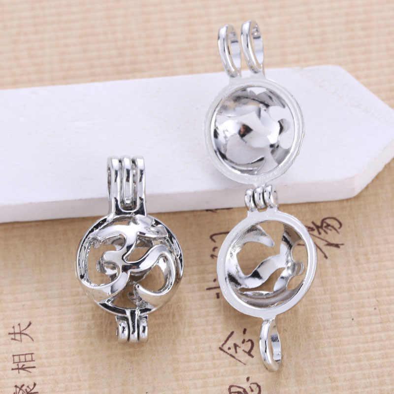 6pcs Silver สัญลักษณ์โยคะกรงไข่มุกเครื่องประดับทำลูกปัดจี้น้ำมันหอมระเหย Diffuser Locket สำหรับ Oyster Pearl สนุกของขวัญ