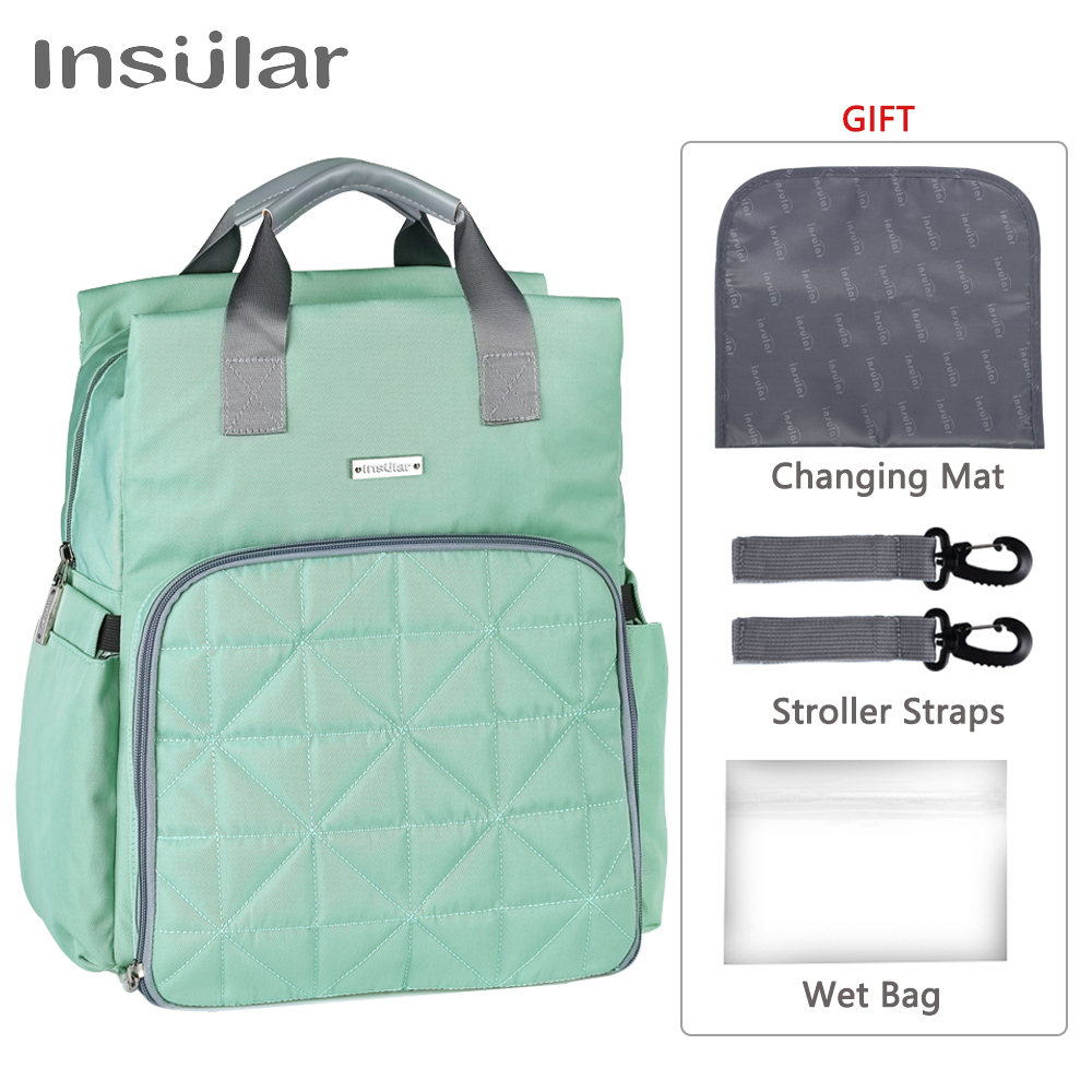 insular Baby Diaper Bag for mom Stroller Maternity Nappy Changing Backpack Stuff Mommy Wet Bags Mother Travel Organizer Mummy baby mom changing diaper tote wet bag for stroller mummy maternity travel nappy bag backpack messenger bags bolsa maternidad page 5
