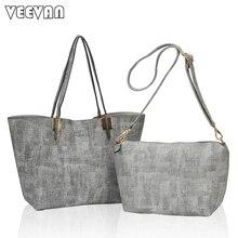 2017 New 2PCS/Set Large Women Handbag Office Lady Handbag Jeans Shoulder Bags Fashion Messenger Bags Crossbody Tote Bags Female