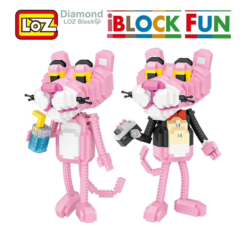 LOZ Pink Panther lovely Leopard Building Diamond Blocks 890Pcs Figure Toy For Age 14+ Offical Authorized 9785 loz pirates of the caribbean jack salazar mini blocks brick heads figure toy assemblage toys offical authorized distributer