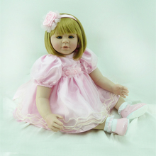 22″Soft Vinyl Bebe Reborn Menina de Silicone Lifelike Toddler Girl Doll in Pink Princess Dress