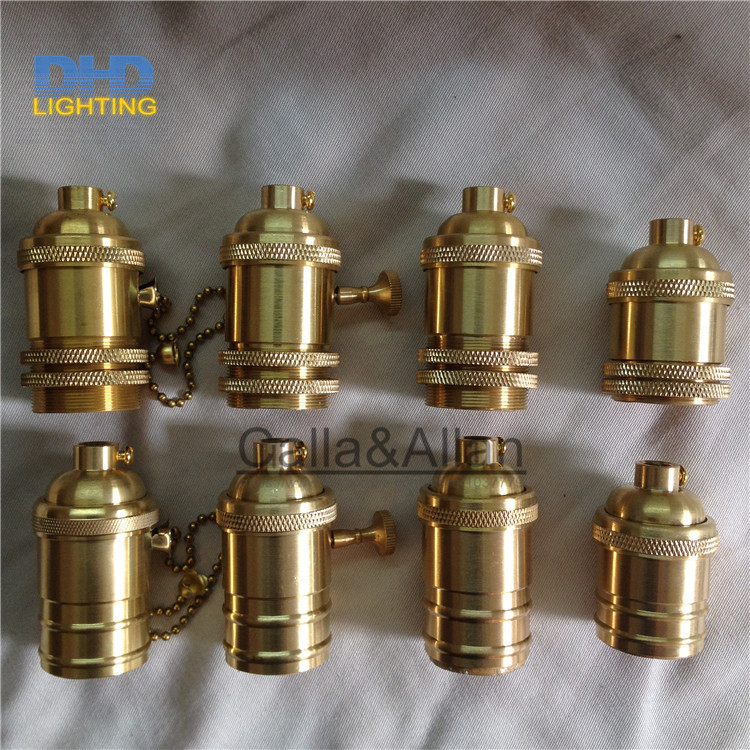 Free Shipping Brass Copper Lamp Holder Electric Light Socket With Or Without Switch And Threaded Shade Fitter DIY Lighting Base
