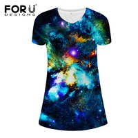 FORUDESIGNS Fashion 3D Galaxy Print Women Dresses Summer Spring Plus Size Women Clothing Dress Casual V