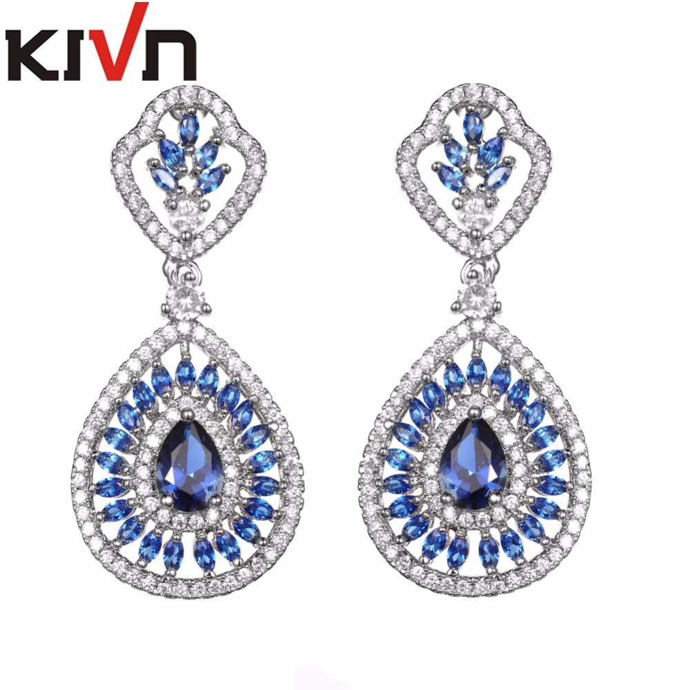 KIVN Fashion Jewelry Luxury CZ Cubic Zirconia Wedding Bridal Earrings for Women Promotional font b Christmas