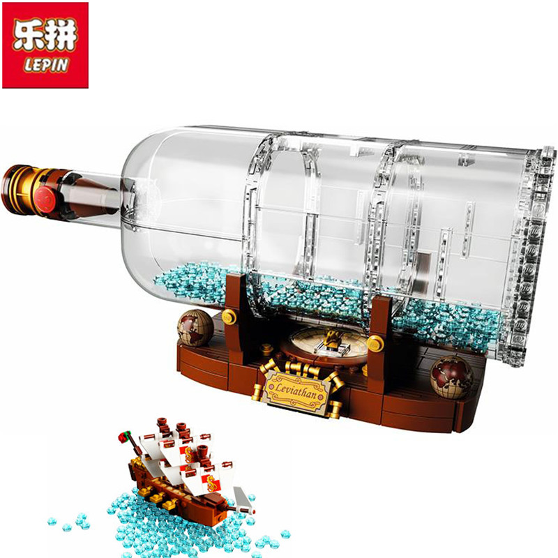 Lepin 16051 Compatible with 21313 Pirates of the Caribbean IDEAS Creative Bottle Boat Toys new lepin 16009 1151pcs queen anne s revenge pirates of the caribbean building blocks set compatible legoed with 4195 children