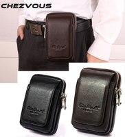 Men Soft Genuine Leather Cowhide Vintage Hip Bum Belt Pouch For IPhone 5 6 6s 7