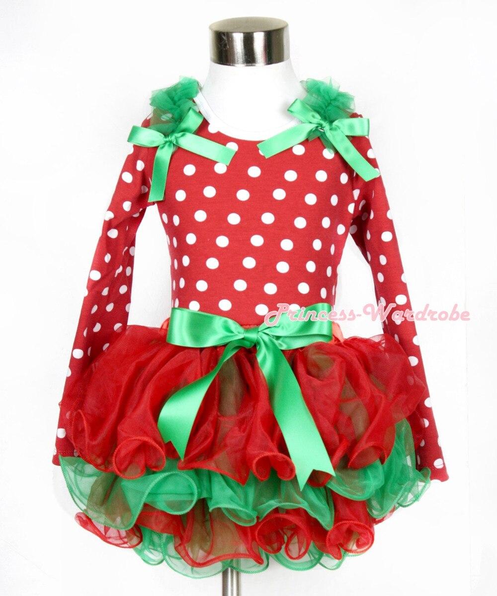 Xmas Kelly Green Bow Red Green Petal Pettiskirt Minnie Dots Long Sleeve Top with Kelly Green Ruffles & Kelly Green Bow MAMW314 kiniki kelly tanga mens