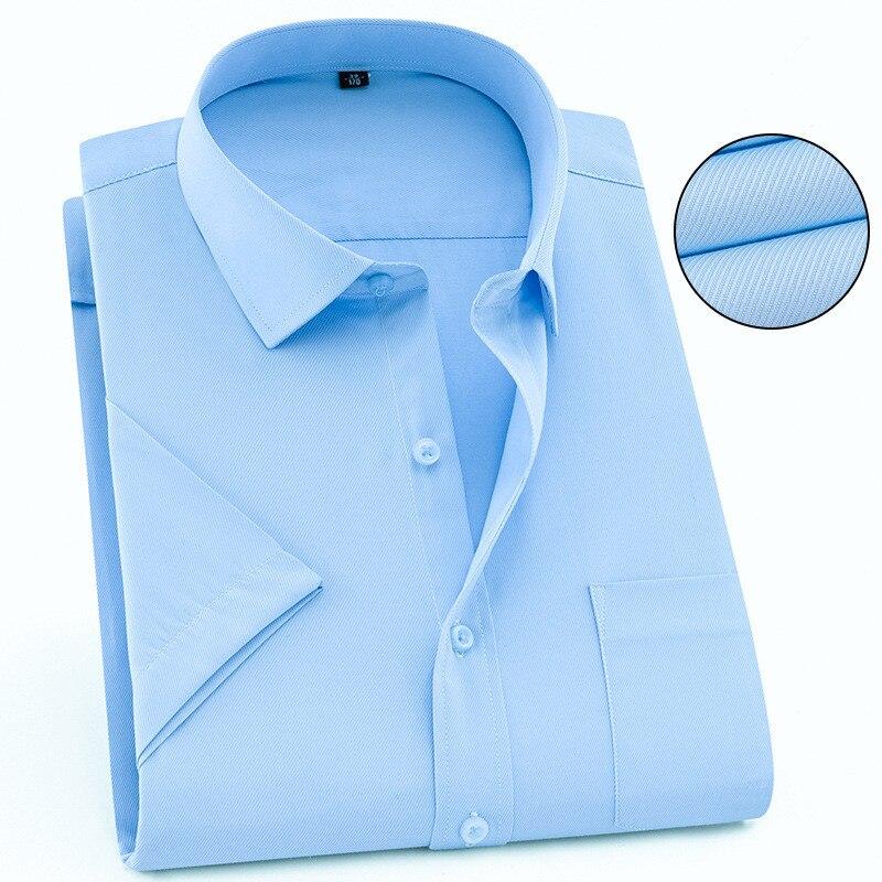 Image 3 - Твил чистый цвет 8XL 7XL 6XL 5XL большой размер Мужская рубашка с коротким рукавом приталенная официальная Мужская белая рубашка деловые мужские рубашки-in Повседневные рубашки from Мужская одежда