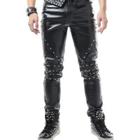 Casual leather pants slim micro elastic male white pants punk style rivet tide men's pants stage DS singer costumes