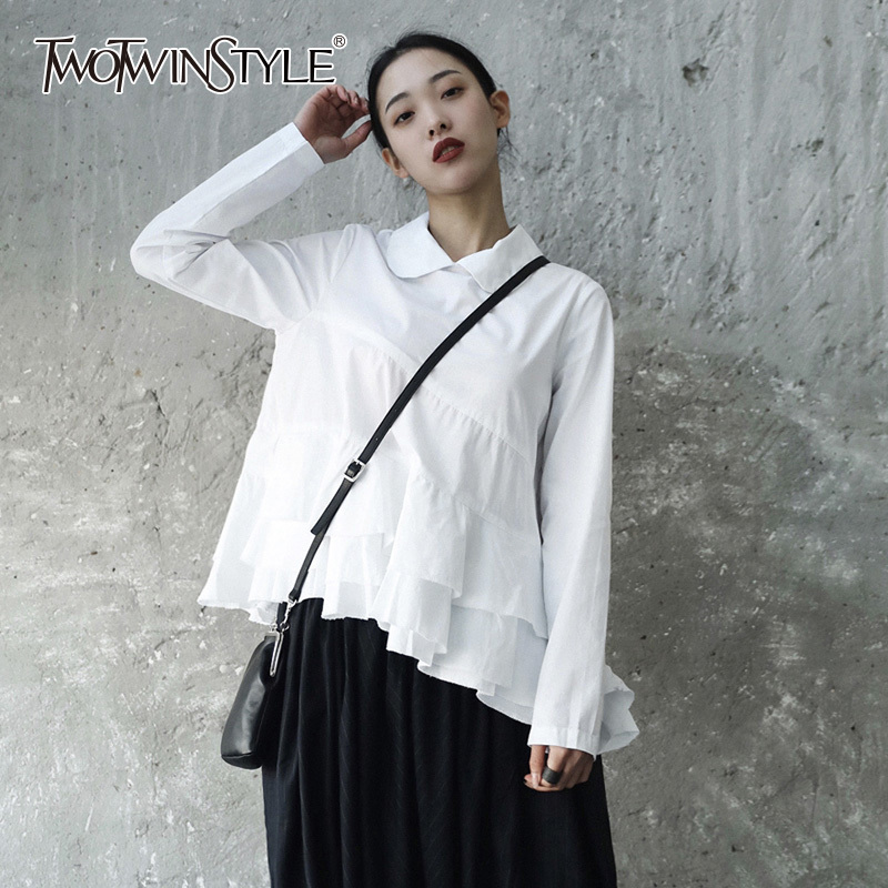 TWOTWINSTYLE Ruffles Pullover Shirt Female Patchwork High Waist Long Sleeve Shirts Top For Women Spring Fashion Sweet Clothing