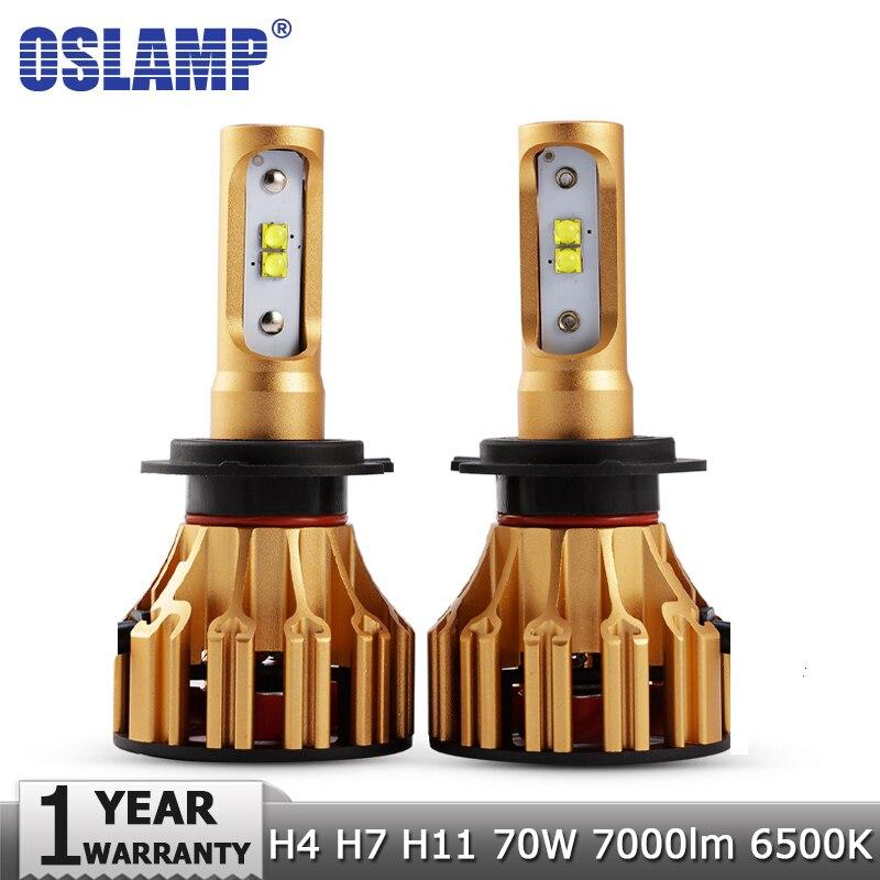 Oslamp Chips SMD 70 W/pair H4 Hi lo haz H7 H11 LED faros bombillas 7000LM 6500 K 12 V 24 V coche automático faro Kits H1 lámparas Led