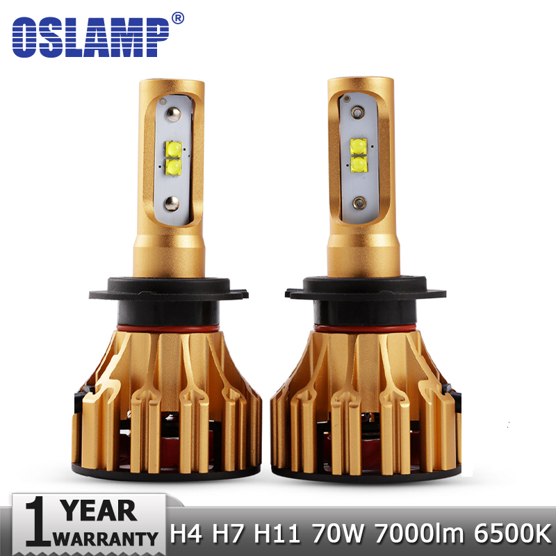 Oslamp SMD Chips 70W/pair H4 Hi lo Beam H7 H11 LED Headlight Bulbs 7000LM 6500K 12v 24v Car Auto Headlamp Kits Fog Light Lamps