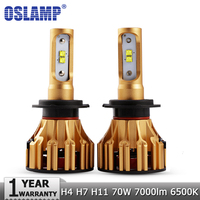Oslamp CREE SMD Chips 70W Pair H7 LED Headlight Car Bulbs 7000LM 6500K 12v 24v Auto
