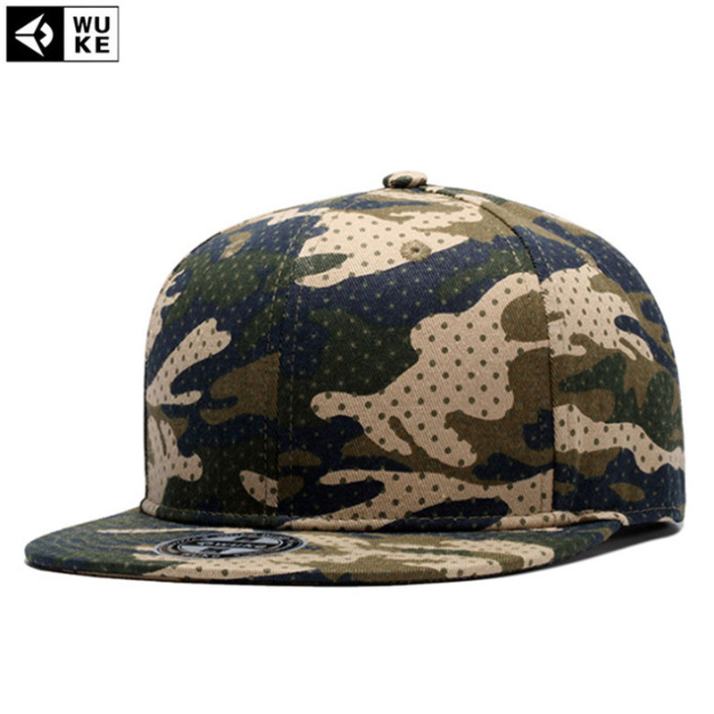 [WUKE] Brand High Quality Camo Camouflage Pattern   Baseball     Cap   Flat Hip Hop Hats For Men Women Snapback Bones Hat Outdoor Gorras