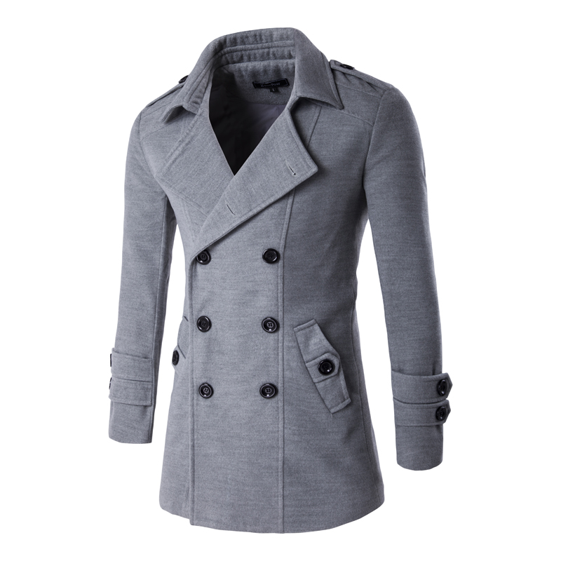 Loldeal Winter Men Slim Fit Wool & Blends Autumn Solid gray Clothing Jacket Wool Coat Casual Overcoat Long Warm Plaid 3 Colors