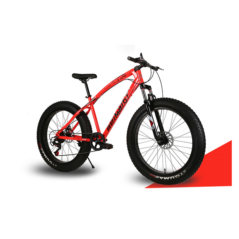 Snow Mountain Bicycle 24 Inch 21 Speed High Carbon Steel Frame Double Disc Brake Off-Road Variable Speed Beach Bike