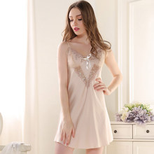 Summer Sexy Nighty Women Silk Satin Nightgowns Sleepshirts Lace Deep V-Neck Ladies Lounge Sleepwear Sleeveless Girls Night Dress
