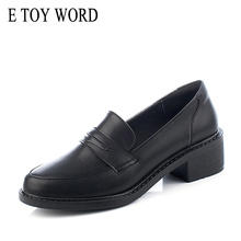 E TOY WORD womens loafers British Style Women Fashion Round toe women shoes slip-on black Leather moccasins woman Work Shoes