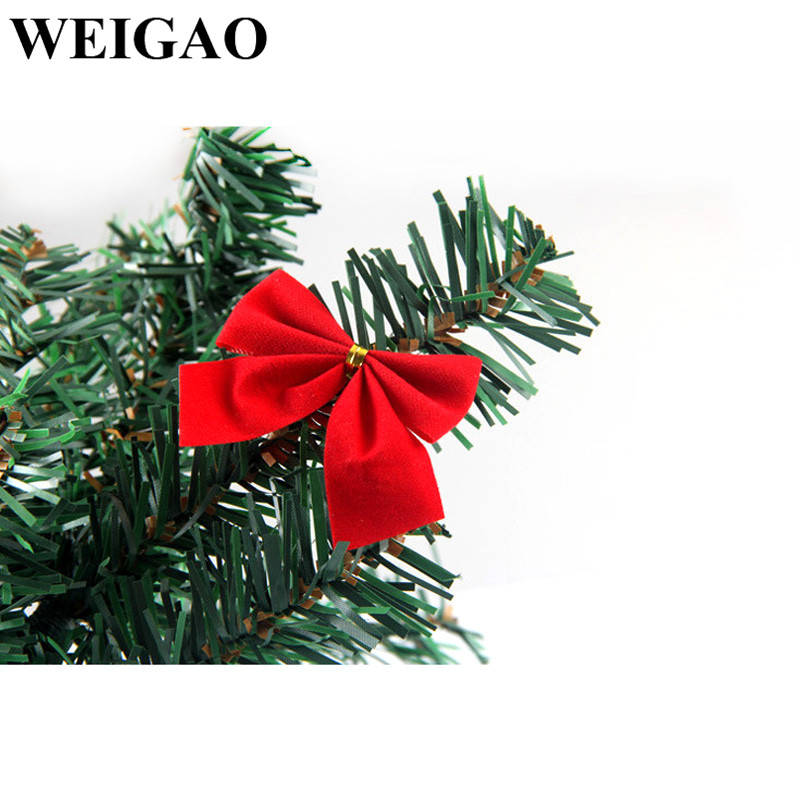 Weigao 12pcs Gold Red Christmas Bows Tree Decorations Xmas Bow Ornaments Drop Pendant Small For Kids Gift Box In From Home