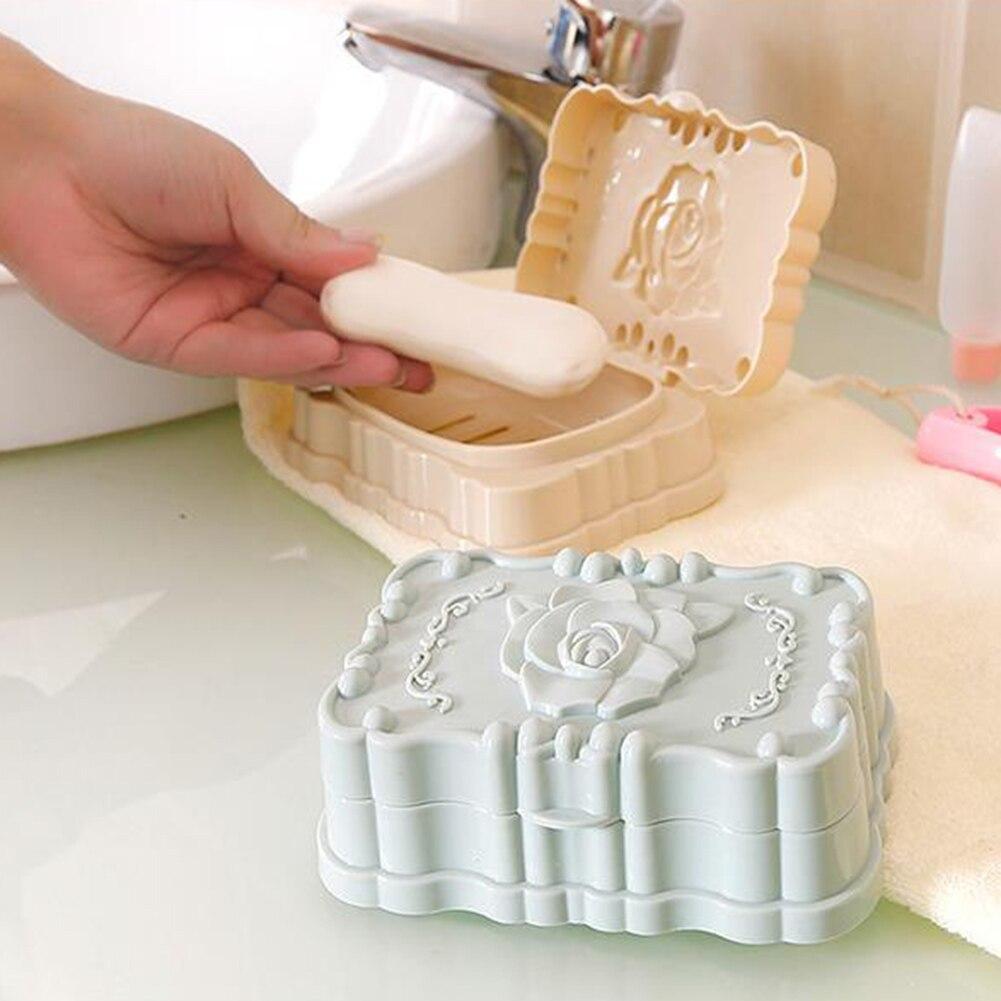 Modern Plastic Rose Bathroom Soap Storage Dish Drain Rack Holder Container Case Portable Soap Dishes Leak-proof Dish Case