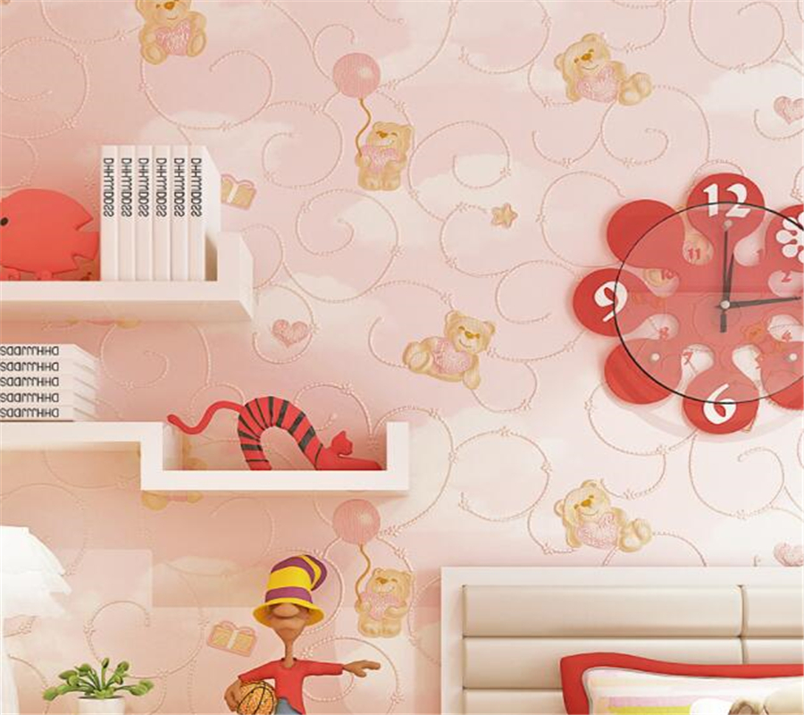 wallpaper for walls 3 d Cartoon bear wallpaper blue pink blue sky white clouds boy girl bedroom wallpaper papier peint Beibehang beibehang environmental non woven boy girl warm cartoon children s room blue sky clouds balloon wallpaper