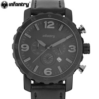 INFANTRY Men Quartz Wristwatch Brand Military Black Leather Strap Watch Flyback Chronoggraph 24hrs Display Relogio Masculino