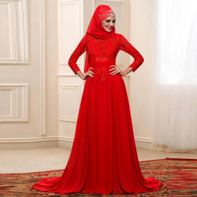 6c256440d Arabic Muslim A Line Wedding Dresses Red Color Long Sleeve High Neck With  hijab Bridal Gowns For Bridal Custom Made Wedding Gown