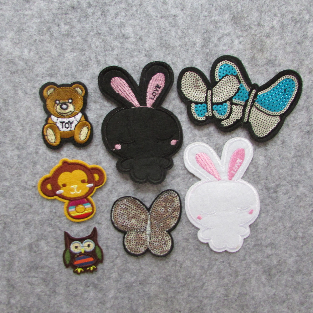 2016 year New Arrival different type animal hot melt adhesive applique embroidery patches stripes DIY clothing accessor hot
