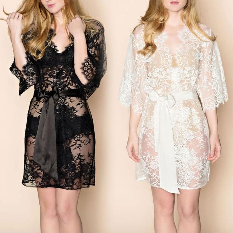 KLV Sexy Womens Eyelash Lace Sleepwear Gown Bride Wedding Lingerie Babydoll Kimono Novelty