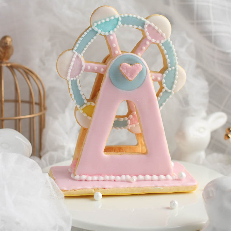 Image 2 - 3PCS  Bakeware Ferris Wheel Shaped Cake Tools  Plastic  Fondant Biscuit Mold Baking Mould Cookie Cutter  Kitchen Gadgets-in Cake Molds from Home & Garden