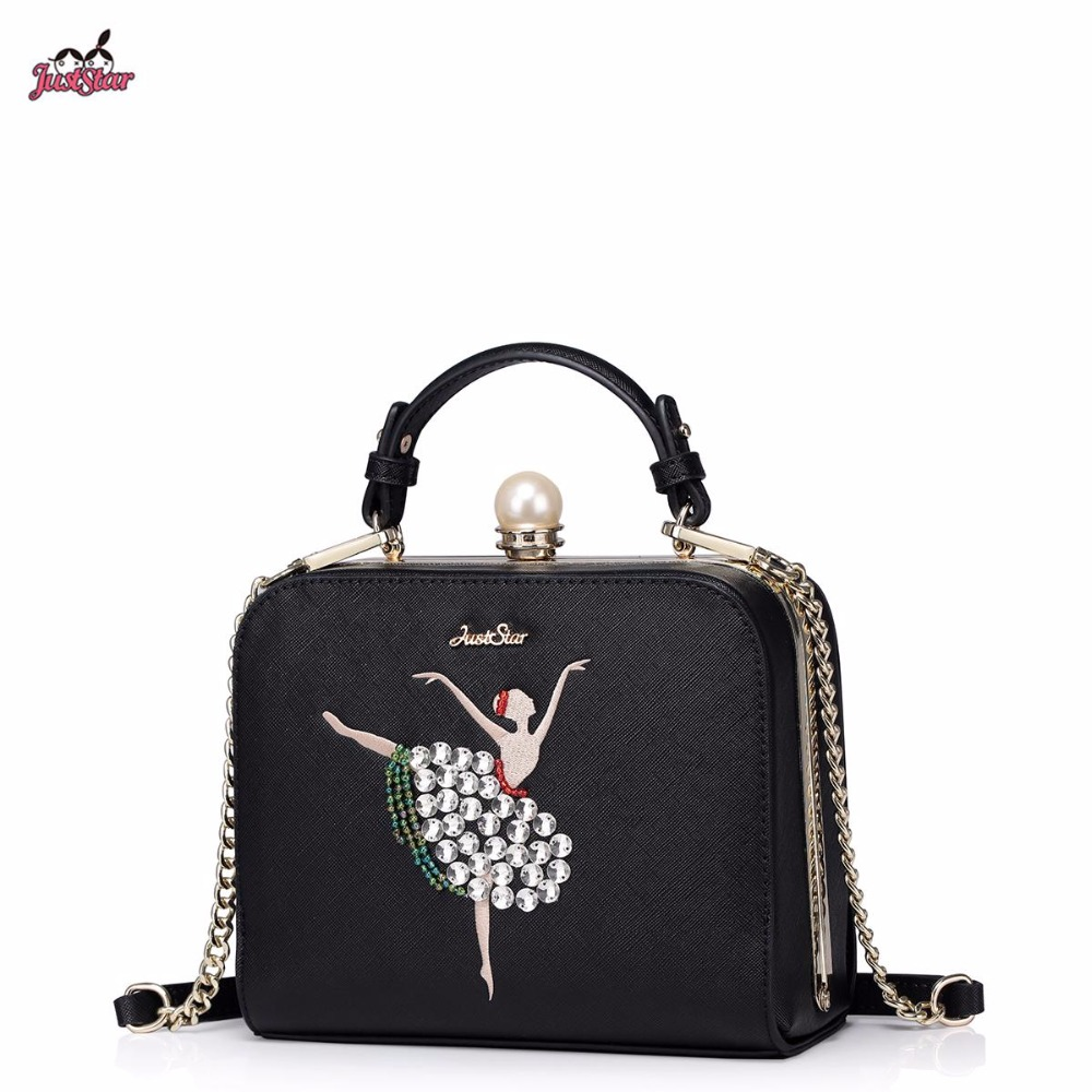 Just Star Brand Design Fashion Diamonds Ballet Girls PU Women Leather Ladies Handbag Chains Shoulder Crossbody Dressing Bags