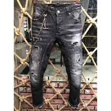 Dark gray ECTIC Men fashion Washed Worn patch jeans NEW sportman classic casual pants Street tide trousers COOL 28-36
