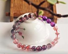 Genuine Natural Super Seven 7 Purple Rutilated Quartz 7mm Crystal Bracelet Women Men Round Beads AAAAA Certificate