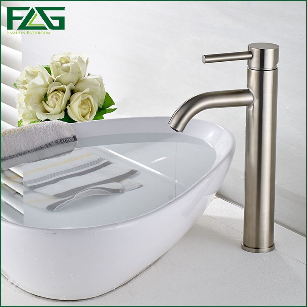 FLG Basin Faucet Ceramic Plate Spool Bathroom Faucet Brushed Nickel Deck Mounted Stainless Steel Basin Faucet Basin Mixer SS002Y светлана алешина срочно в номер сборник