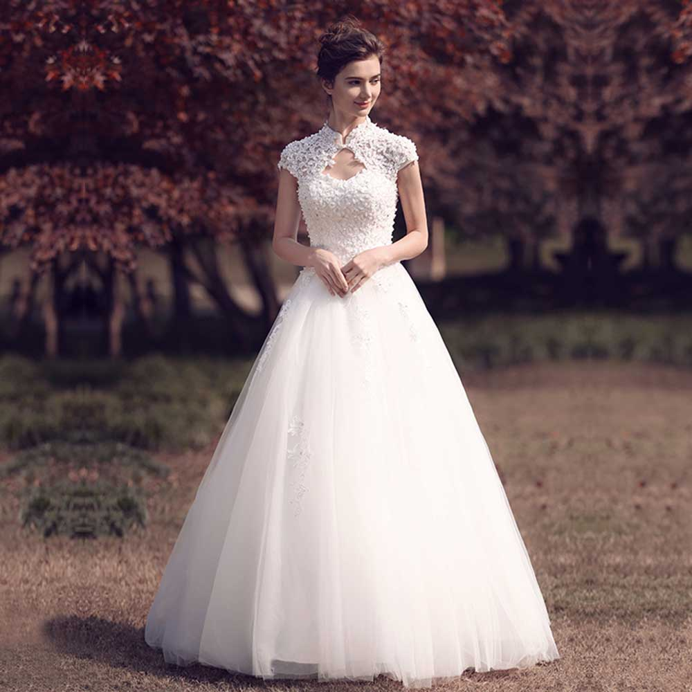 Dressv Elegant Sample V Neck Retro Wedding Dress Short Sleeves Appliques Flower Floor Length Simple Bridal Gowns Wedding Dress