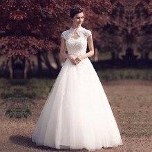 Dressv elegant sample v neck retro wedding dress short sleeves appliques flower floor length simple bridal gowns wedding dress short sleeves v collo day dress