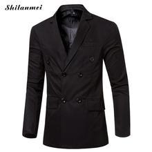 Новая мода 2018 Для мужчин костюмы двубортный Повседневное Длинные пиджаки Демисезонный высококачественный костюм Для мужчин пиджак Slim Fit пальто куртки
