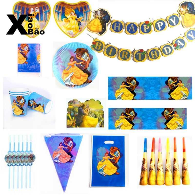 Piękno i bestia motyw naczynia papierowe talerz puchar Banner zaproszenie obrus Topper balon torba Favor Party urodziny dziewczyna prezent