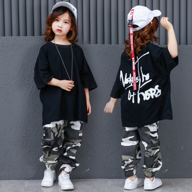 Camouflage Pants Ballroom Jazz Hiphop Street Dance Clothes Suits Children Hip Hop Dance Costumes Kids Boys Girls Women Men
