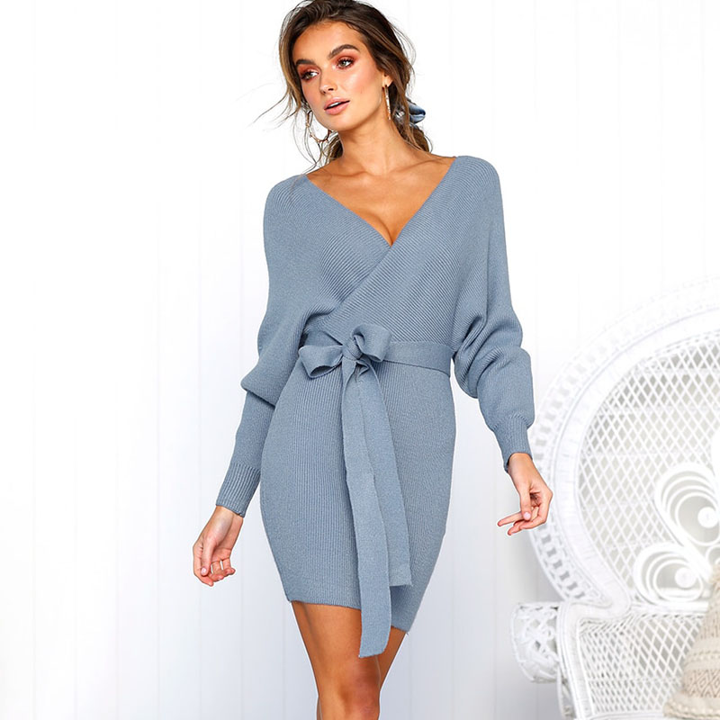 <font><b>2018</b></font> <font><b>Women</b></font> <font><b>Autumn</b></font> Dress Long Sleeve <font><b>Fashion</b></font> Knitted Sweater Mini Dresses With Belt Causal <font><b>Bodycon</b></font> <font><b>Sexy</b></font> V-Neck <font><b>Elegant</b></font> Dresses image