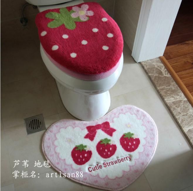 Freeshipping 변기 커버 특별 파우더 딸기 바 카펫 맨틀 패드 4 조각 세트 화장실 세트 욕실 매트