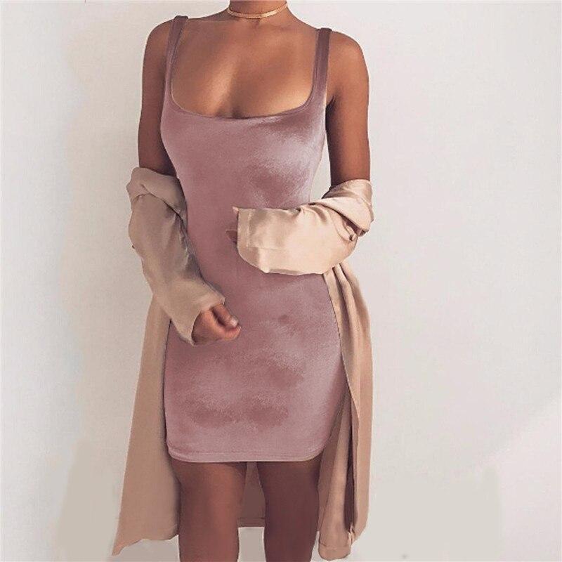 Sexy sin mangas backless correa velvet dress women casual mini wrap bodycon dres