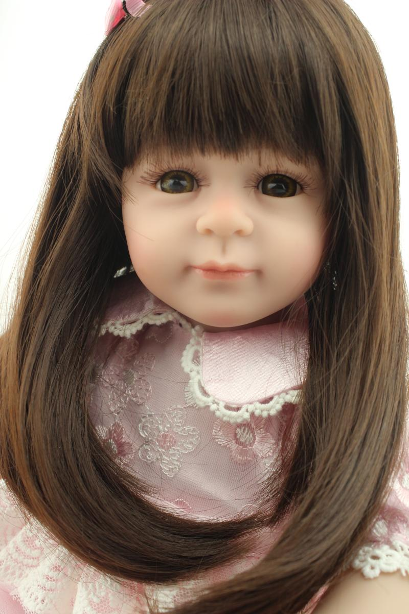 50cm Lovely Girl Dolls Long Brown Hair Pink Dress Princess