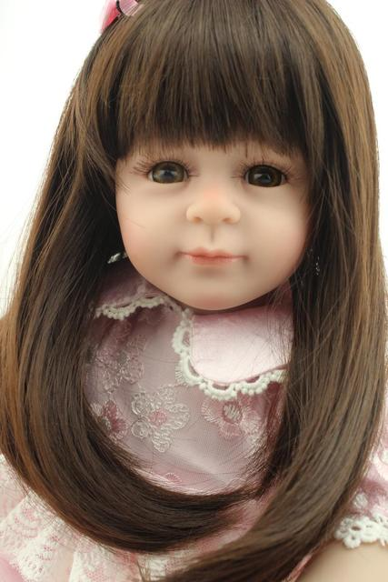 50cm Lovely Girl Dolls Long Brown Hair Pink Dress Princess