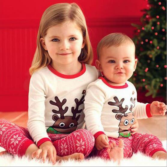 2PCS/2-6Years/Christmas Pajamas Baby Boys Girls Clothing Sets Cartoon Cute Elk Top+Pants Kids Tracksuit Children Clothes BC1005