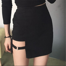 A Set Sexy Mini Tennis Skirt High Waisted Hollow Out Asymmetric Metal Ring Package Hip Skirts Gap Irregular Hem Tennis skirt high waisted metal embellished chiffon skirt