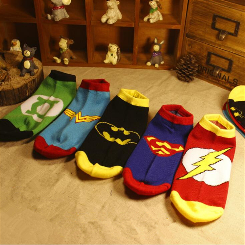 Justice League Superhero Movie SpiderMan The Flash Superman Wonder Woman Sign Cotton Socks Colorful Breathable Cartoon Sock